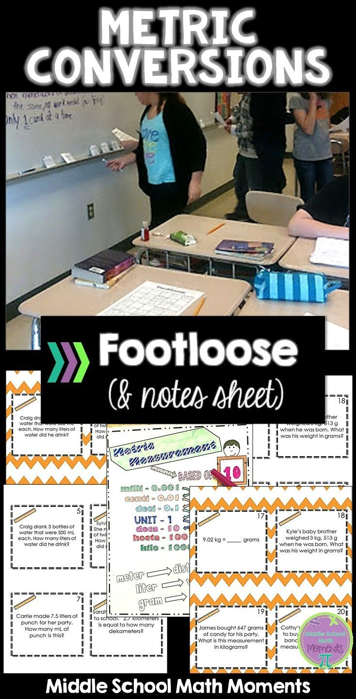 Looking for a fun way to practice metric measurement conversions? Keep your students engaged and practicing with Metric Conversions Footloose! Notes sheet included.