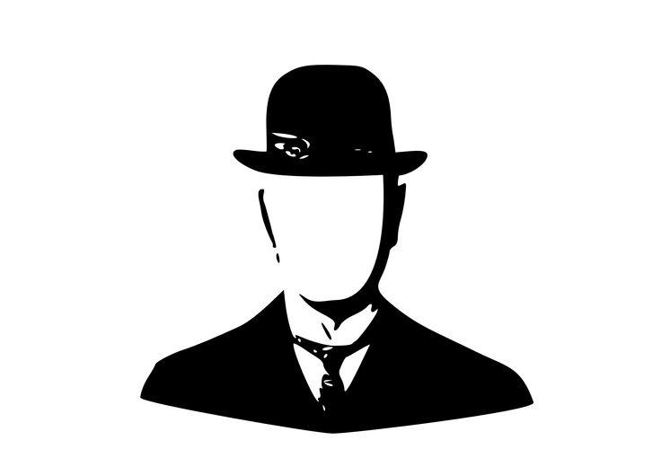 Magritte Bowler Hat Stencil Cutout Face Mrgs 11 Design