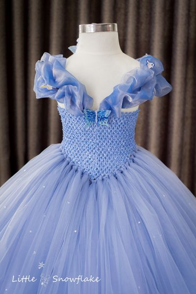 Cinderella Tutu Dress, in light sweet blue and white sparkling fabric with small rhinestones.