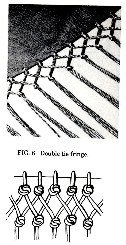 How to make double tie-chainette shawl fringe from simple chainette fringe. Lakota Music and Dance...Women's Northern Shawl Construction and Dance