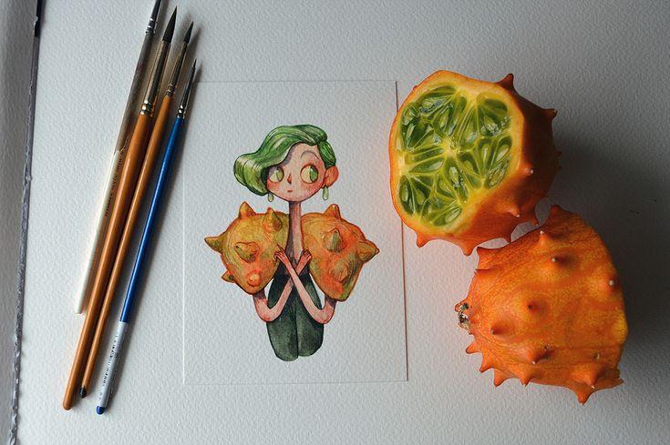 des fruits en personnages par Marija Tiurina - https://www.dessein-de-dessin.com/des-fruits-en-personnages-par-marija-tiurina/