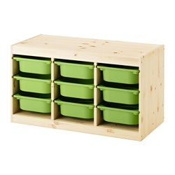 IKEA - TROFAST, Storage combination with boxes, pine/green, , A playful and sturdy storage series for storing and organizing toys, sitting, playing, and relaxing.The frame has several grooves, so you can place boxes and shelves where you want them, and change them any time.Low storage makes it easier for children to reach and organize their things.