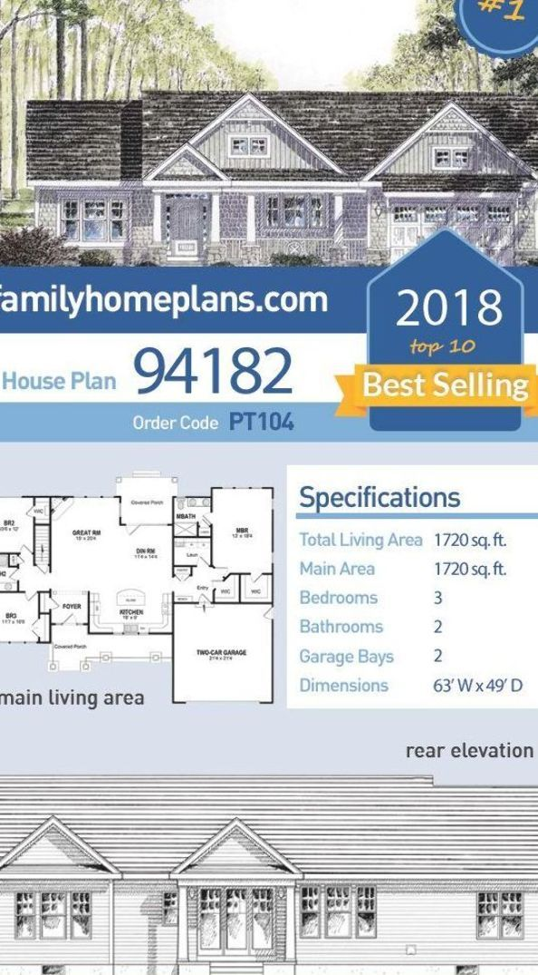 Number 1 Of 2018 S Top Ten Best Selling House Plans Ranch House Plan 94182 Has 1720 Sq Ft Of Living Space 3 Be Floor Plans Ranch House Plans Ranch House Plan