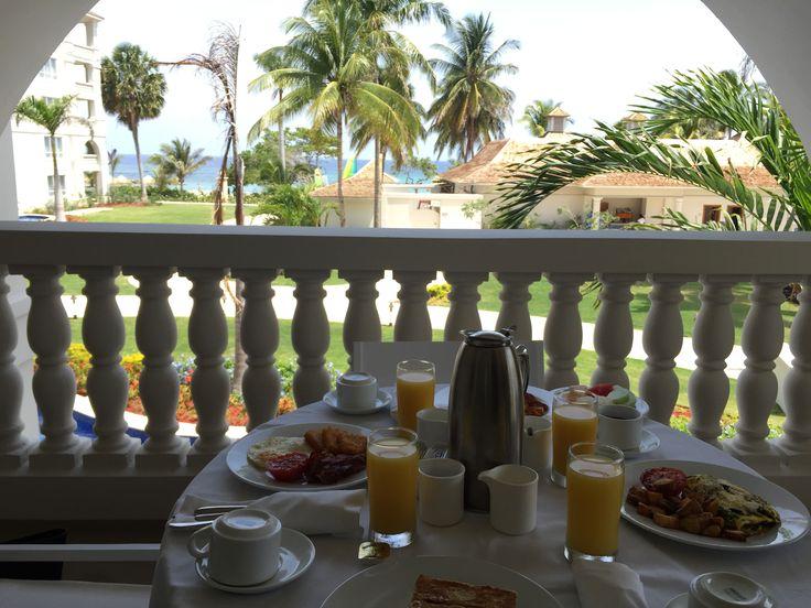 Breakfast on the balcony at Hyatt Ziva Rose Hall