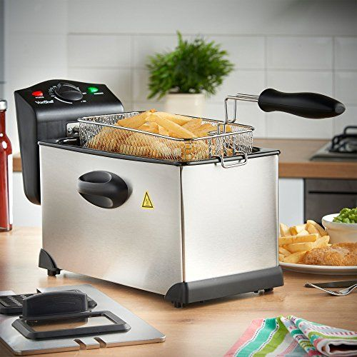 VonShef 3 Litre Non-Stick Stainless Steel Deep Fryer with Viewing Window - Cool Kitchen Gifts