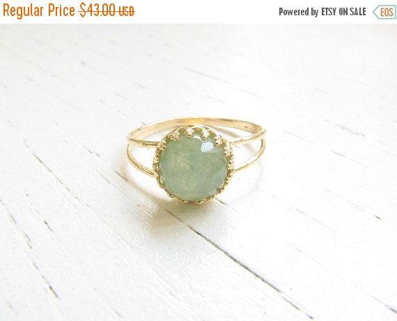 SALE - Jade ring - Natural Jade ring, Jade gemstone ring - Gold ring - Gold Jade ring - Gemstone ring - Jade jewelry - Green ring - May birt by MoonliDesigns on Etsy https://www.etsy.com/listing/197121297/sale-jade-ring-natural-jade-ring-jade