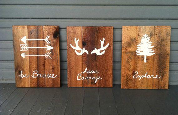"""Être courageux, avoir le Courage, Explorer - Set de 3 panneaux bois personnalisé - camouflage - pépinière rustique---10 """"x 14"""" x 1/2""""}"""