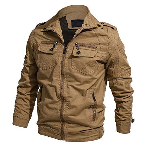 6eecd29cc3a CRYSULLY Men s Spring Autumn Casual Windproof Cargo Coat Cotton Utility  Full Zip Pilot Jacket Khaki