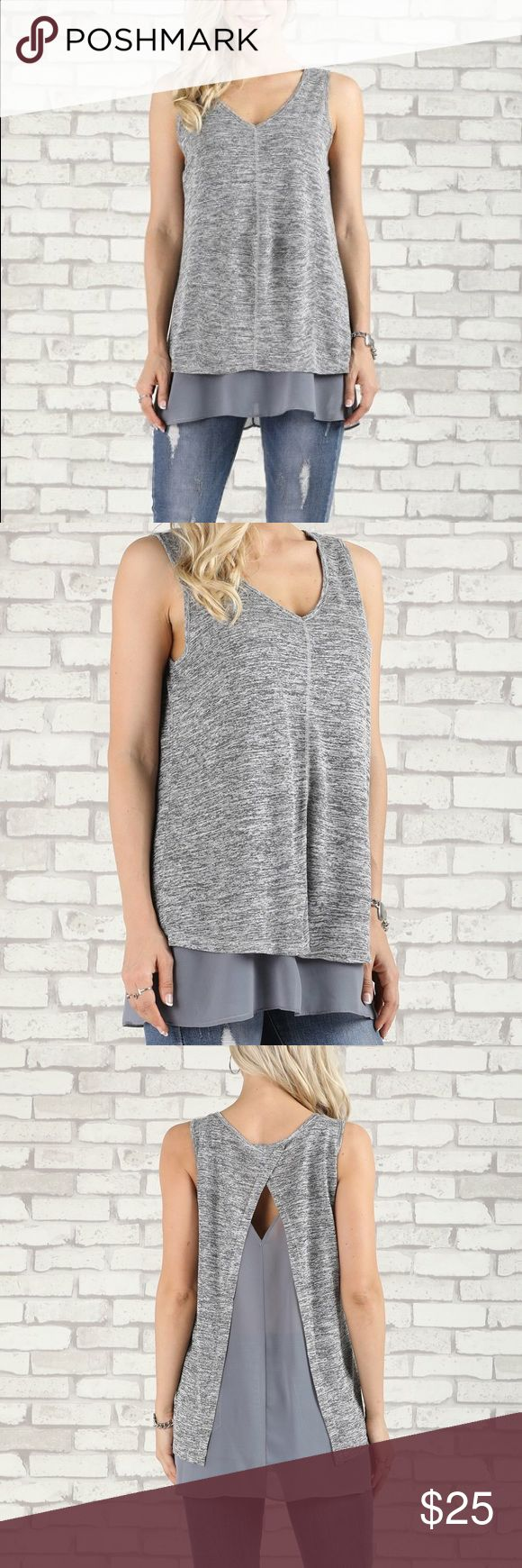 """🌺Sold🌺 Suzanne Betro V-Neck Open-Layer Tank This heather charcoal v-neck tank features an open-layer back and a solid hue for a hint of flirty appeal.  While this is a large I would say that this fits more like an XL. I've included the measurements from the website but this top runs a bit large.  Self- 65% Rayon / 35% Polyester Lining - 100% Polyester Approx. 29"""" long from high point of shoulder to hem (measured hanging) Suzanne Betro Tops"""