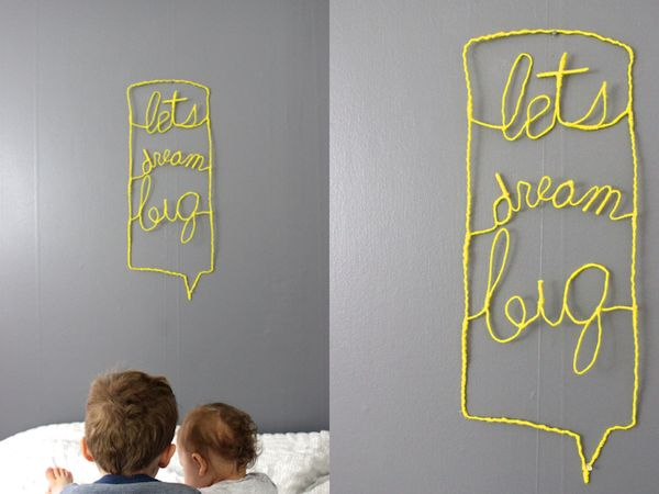 diy wire typography sign http://www.youaremyfave.com/2014/01/16/a-non-cheesy-inspirational-sign-is-my-fave/