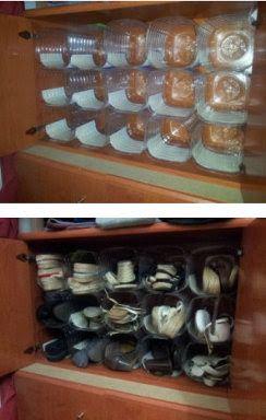 Organizador d zapatos con botellas de plástico. A implementar !