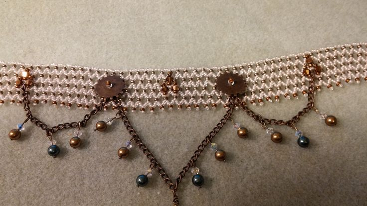 Victorian seed bead netting with Swarovski pearls and crystal bicones