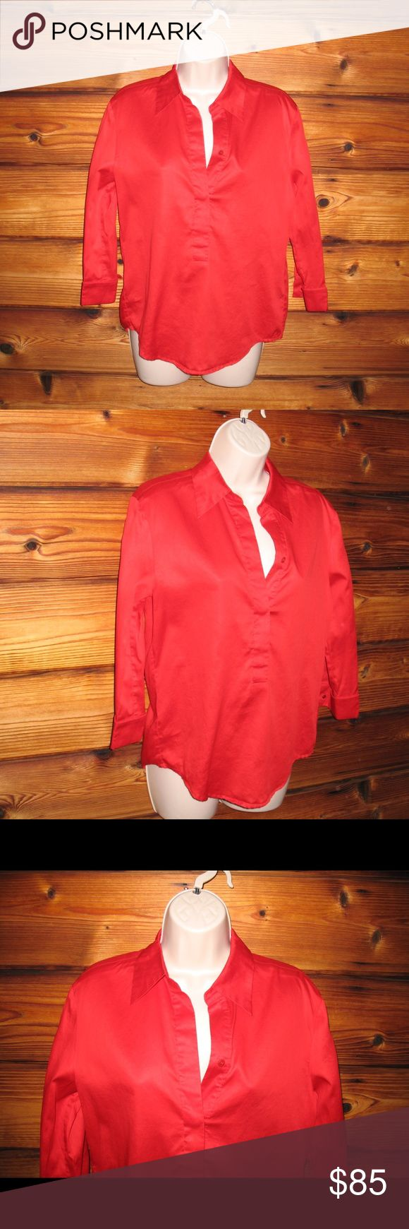 "Escada Sport Popover Sateen Cotton Blouse Top Escada Sport Popover 3/4 Sleeves Sateen Cotton Blouse Top, Size 34 Small  *Excellent condition. No stains, holes or other imperfections.  Details:   Escada Sport Size: 34/small Color: Red Style: Popover 100% Cotton Machine Wash  Measurements: Length: 24"" Bust: 38"" Waist: 36"" Escada Tops Blouses"