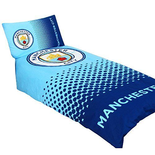 Manchester City FC Official Fade Football Crest Duvet Cover Bedding Set (Twin) (Blue/Navy)