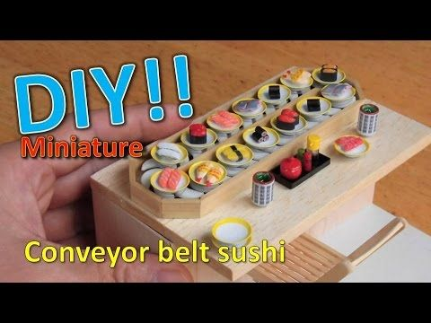 DIY/Miniature Conveyor belt sushi (actually works!!)ミニ 回転寿司の作り方 - YouTube