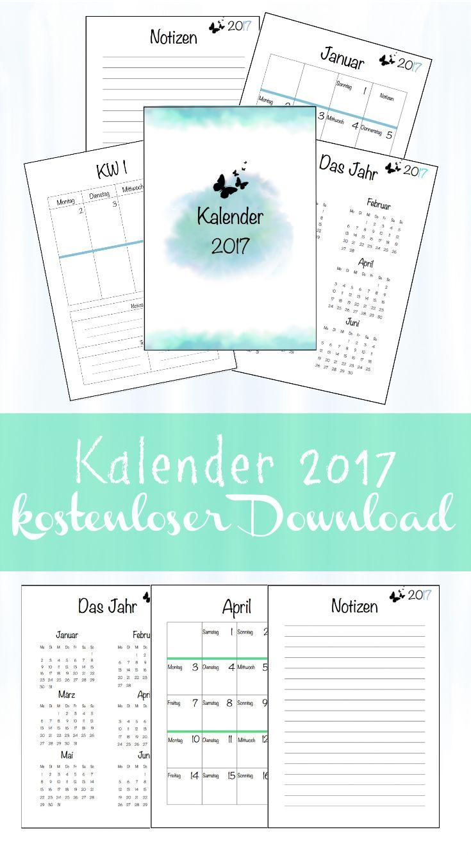 Free Printable :  Schon wieder ist ein Jahr fast vorüber. Natürlich gibt es auch dieses Jahr wieder einen Kalender 2017 zum kostenlosen Download. Der Kalender 2017 enthält das Jahr auf 2 Seiten, die Monate (je Monat 2 Seiten), die Wochen (pro Woche 2 Seiten) und einige Notizseiten.