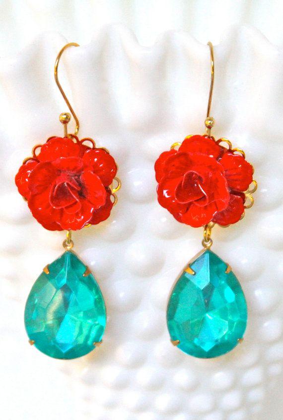 Aqua Blue Tear Drop Red Rose Turquoise Gold Cherry Drop Dangle Earrings - Christmas,Vintage, Wedding, Bridesmaid, Bridal, Statement Earrings