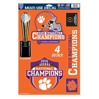 "Clemson Tigers WinCraft College Football Playoff 2016 National Champions 11"" x 17"" Multi-Use Car Decal Sheet"