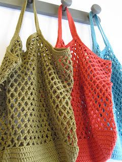 petits points: Sacs filets au crochet coton Plus