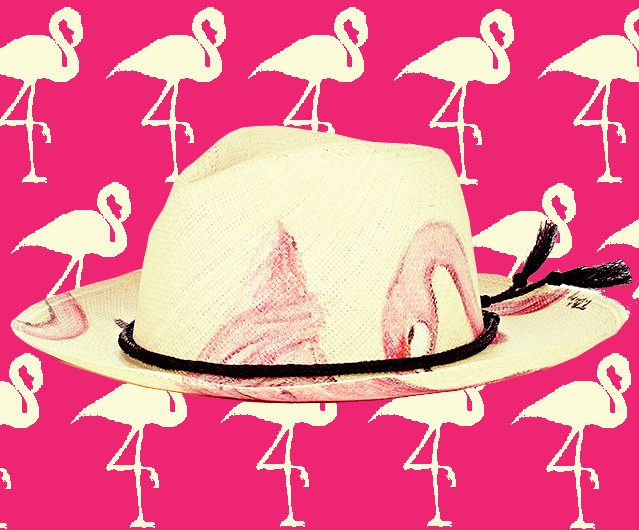 Featuring a band braided from horsetail hair, Ibo Maraca's natural woven Panama hat is hand-painted with pink flamingos! TO BUY IT or SEE SIMILAR CLICK LINK: http://thetripjunkie.com/shop/product-category/hats-and-caps/