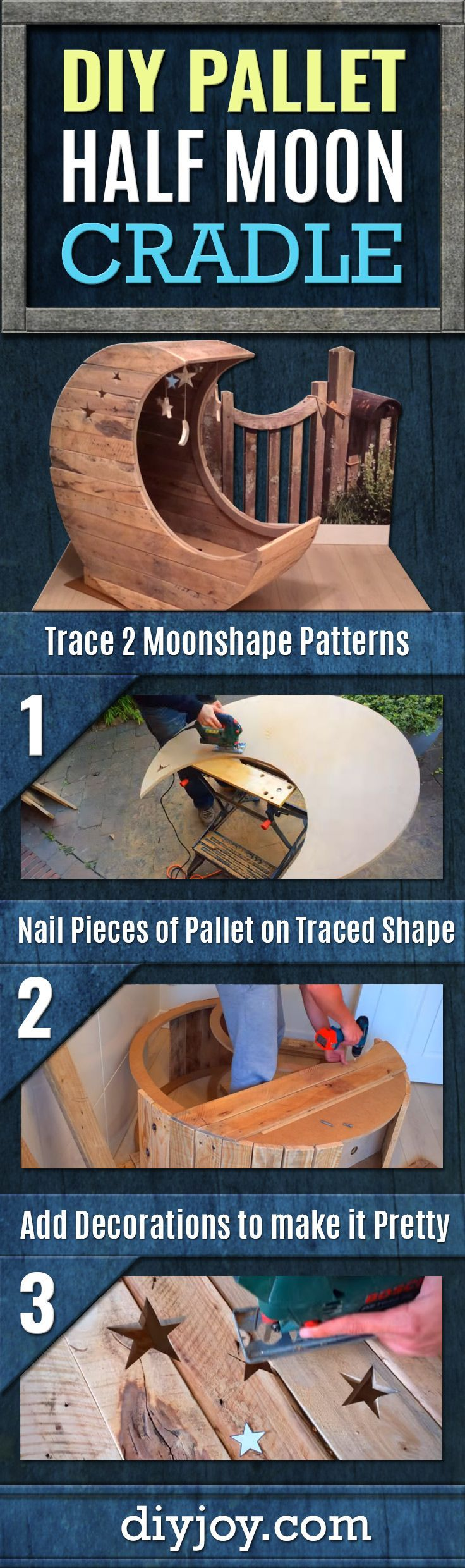 DIY Pallet Cradle - Half Moon Cradle Tutorial For Baby Room Decor - Creative and Cool Crafts and Home Decor Projects for Babies - Step by Step DIY Projects