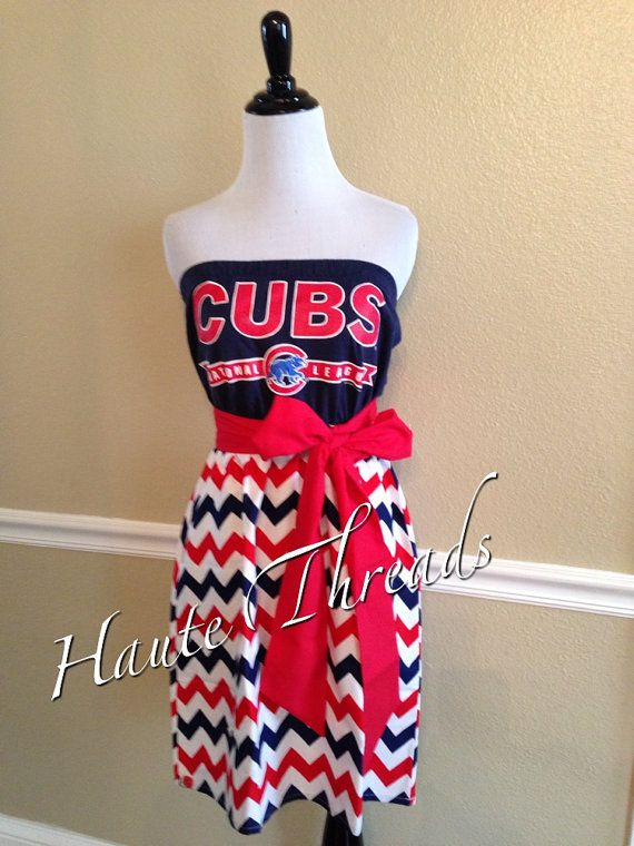 Chicago Cubs MLB Baseball Gameday Chevron Dress by hautethreadsboutique, $55.00