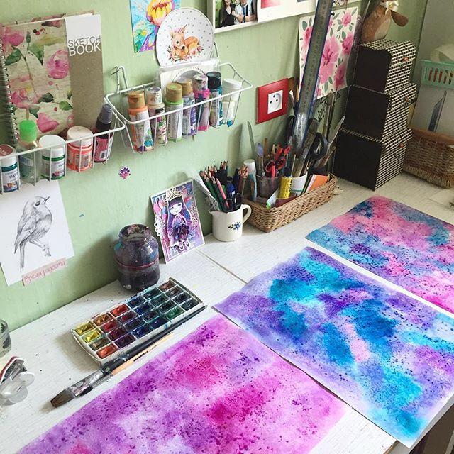 Космическое действо на моем столе #prokhorovaart #акварель #watercolor #космос #рисуйкаждыйдень