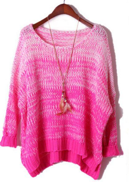 Rose Red Gradients Batwing Long Sleeve Loose Sweater