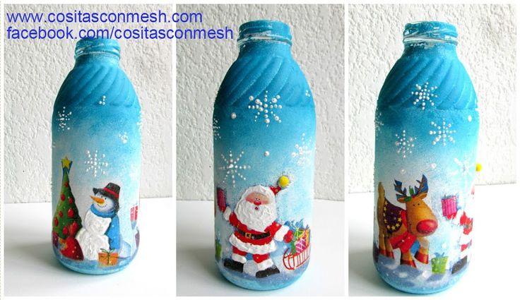Cómo decorar de manera fácil botellas para navidad