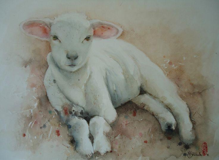 "Saatchi Online Artist: Marie-helene Stokkink; Watercolor, 2011, Painting ""the vulnerable lamb"""