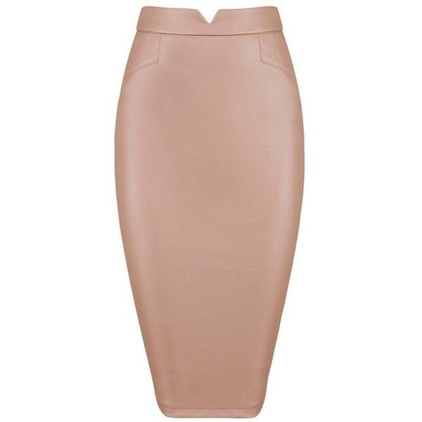 Honey couture janine vegan leather beige pencil skirt ($159) ❤ liked on Polyvore featuring skirts, knee length pencil skirts, nude skirt, sexy skirt, beige faux leather skirt and zip up skirt