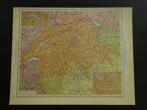Old vintage map of Switzerland  1950 Dutch by DecorativePrints