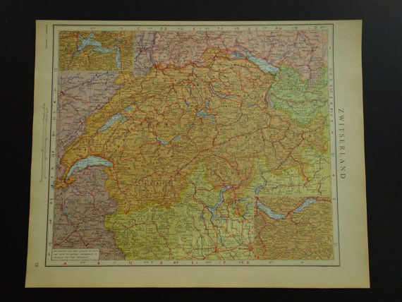 Old vintage map of Switzerland  1950 Dutch by DecorativePrints