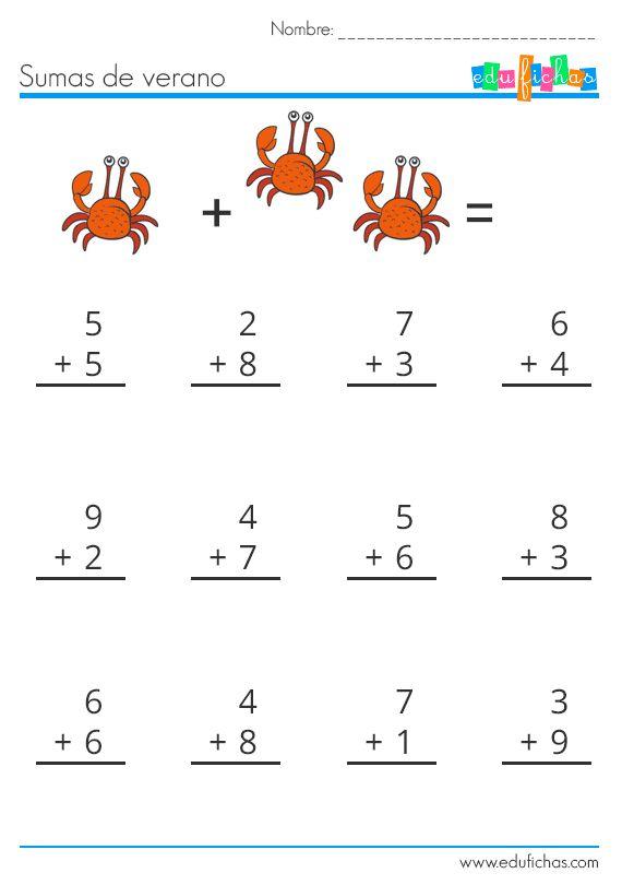 sumas para verano ficha 3  http://www.edufichas.com/actividades/matematicas/sumas/hojas-sumas-verano/  #sumar #aprender #verano #niños #cartillas