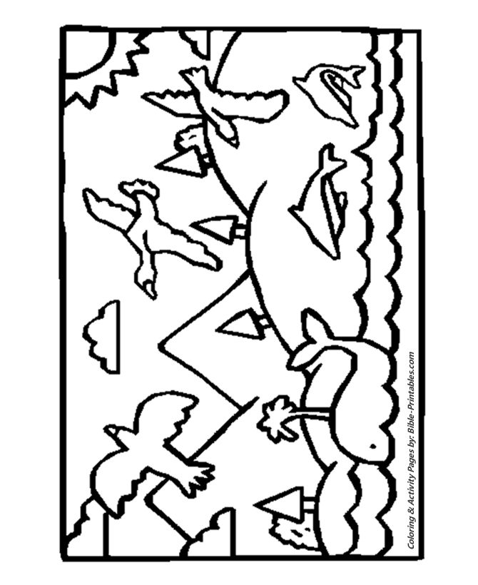 The Fifth Day | Creation coloring pages, Coloring pages ...