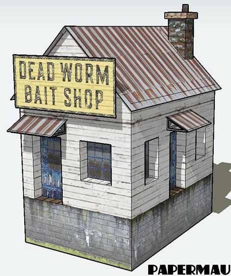 Paperized Crafts Dead Worm Bait Shop Paper Model Paper Models