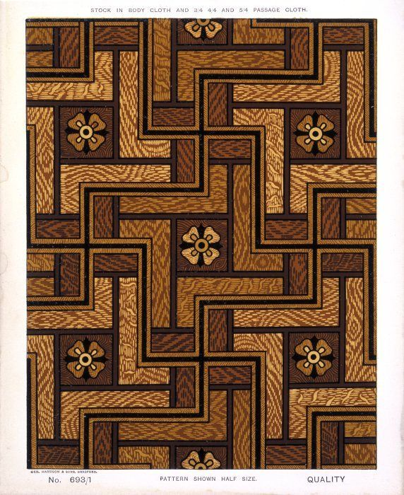 George Harrison & Co (Bradford) :Floorcloth [parquet pattern]. Stock in body cloth and 3/4 4/4 and 5/4 passage cloth. No 693/1. Pattern shown half size. [1880s?]