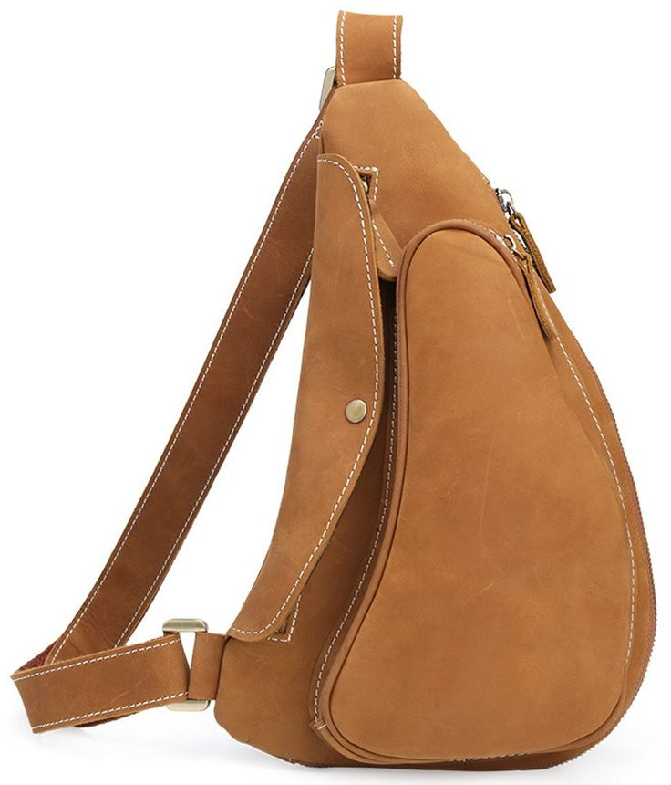 Everdoss Sling Backpack for Men Leather Casual Daypack Chest Bag Brown