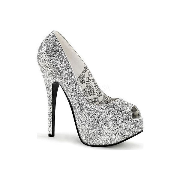 Women's Bordello Teeze 22G ($63) ❤ liked on Polyvore featuring shoes, pumps, heels, dresses, platform shoes, silver, silver platform pumps, sexy high heel pumps, silver pumps and high heel shoes