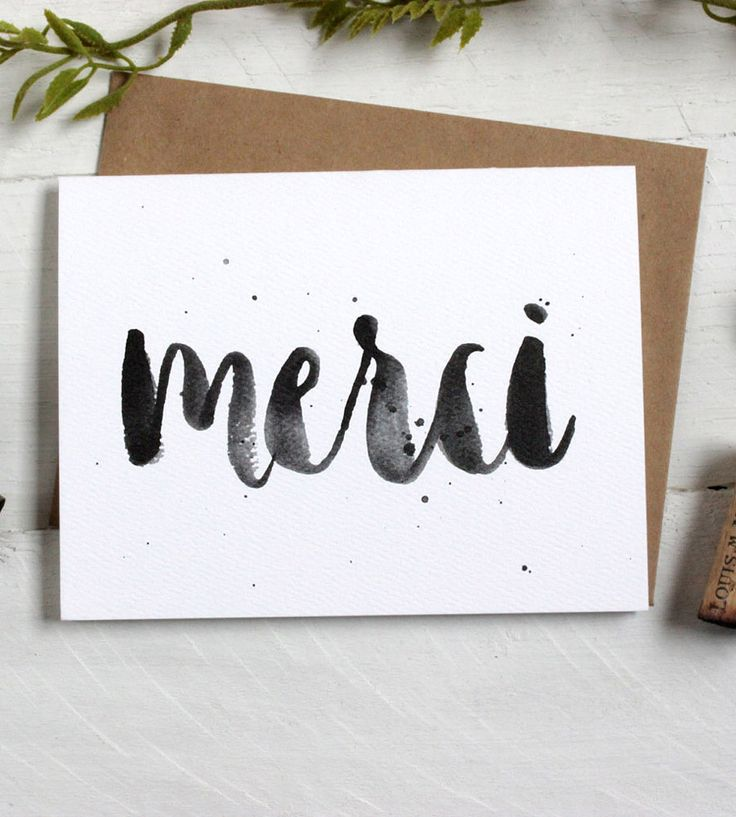 wedding thank you cards time limit%0A Merci Brush Lettering Thank You Cards  Set of    by The Oyster u    s Pearl on  Scoutmob