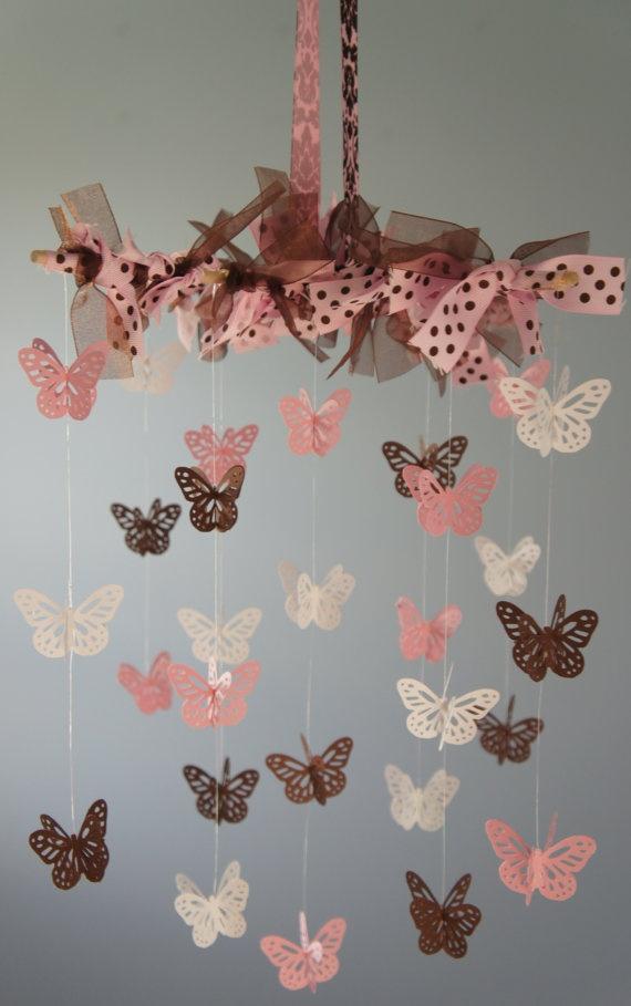 Handmade butterfly mobile from Etsy. Super sweet for a little girl's nursery. :-)