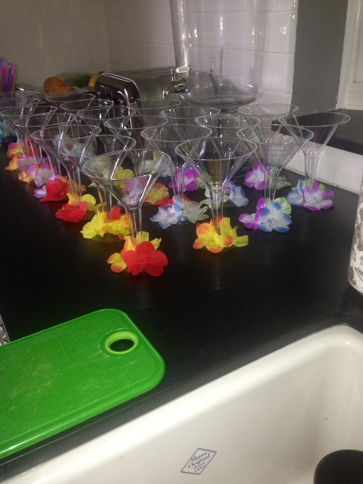 Annual Memorial Day Luau. #DIY Hawaiian Martini glasses