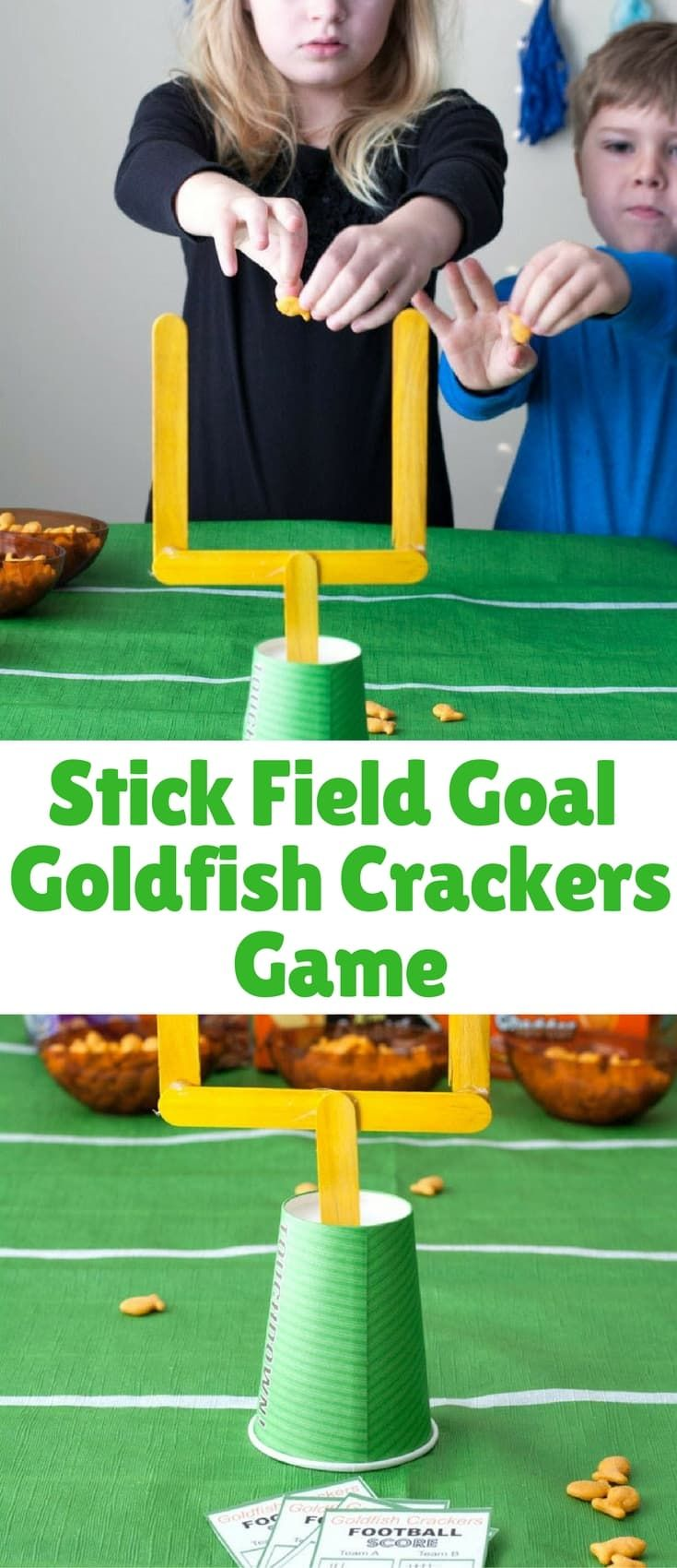 Game day can be fun for you and the kids with this easy game day craft stick field goal Goldfish® crackers game.