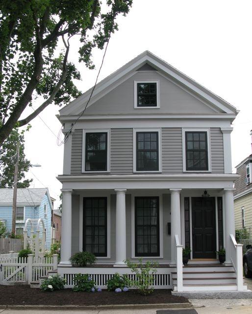 "Body of House: Benjamin Moore ""Graystone""  Trim:  Benjamin Moore ""Silver Chain""  Door: Benjamin Moore ""Black"""