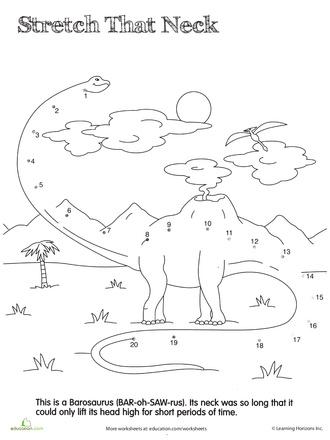 Worksheets: Dino Dot to Dot: Barosaurus