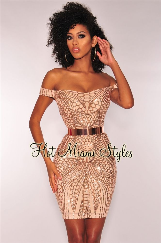 f8965cc43df Rose Gold Sequins Sweetheart Off Shoulder Dress in 2019 | Prom/Hoco ...