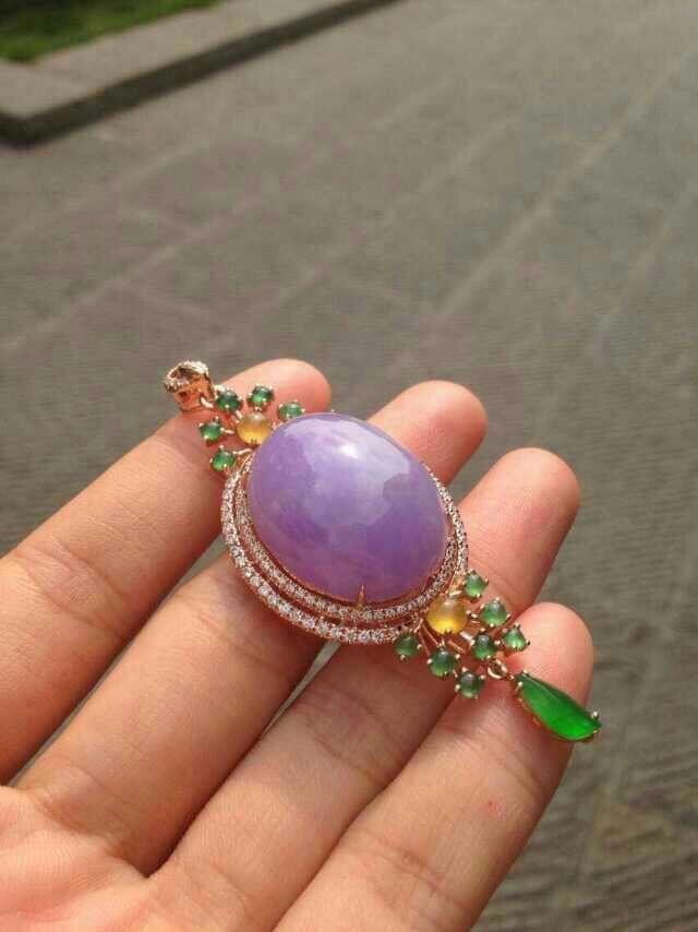 Multicolor jade and Diamond pendant.