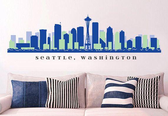 "NFL SEATTLE SEAHAWKS Skyline Team Wall Decal Washington Art Vinyl Peel n Stick up to 70"" x 18"" College Dorm Office Business Decor City on Etsy, $29.99"