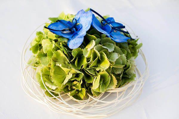 Portafedi con ortensia verde! Green Hydrangea ring holder