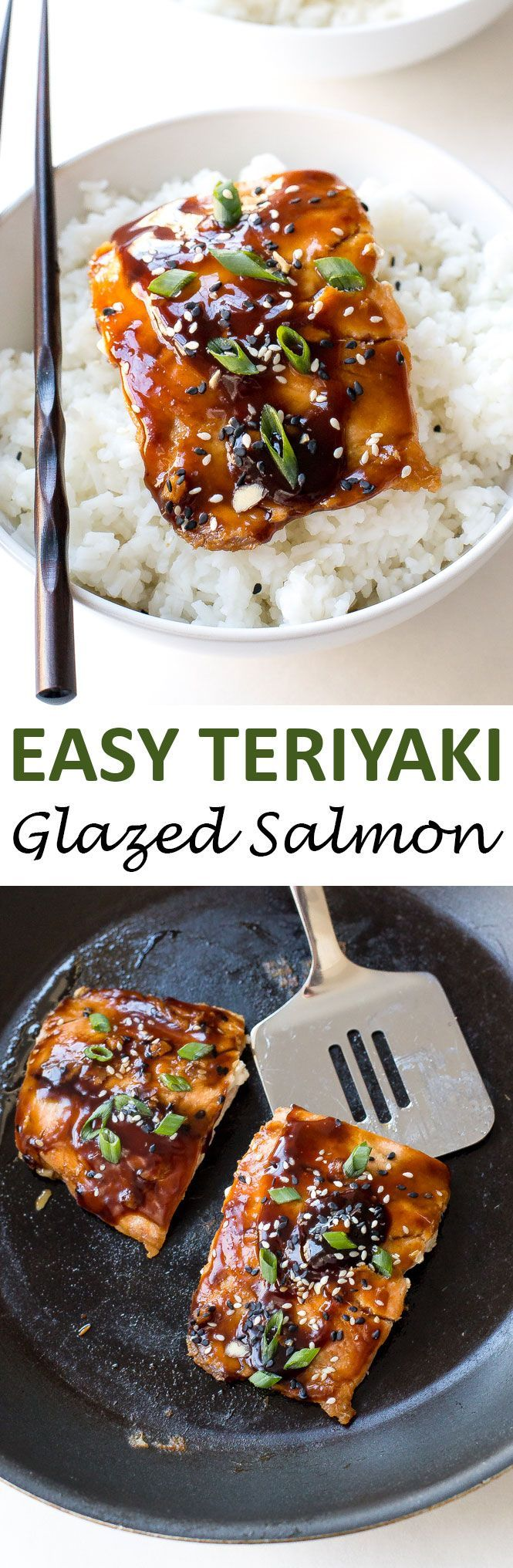 Easy Teriyaki Salmon pan-fried to perfection and served with a homemade teriyaki sauce! Serve with rice and veggies to make it a meal! | chefsavvy.com #recipe #teriyaki #salmon #seafood